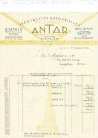 Dépt 63 - Thiers - Belle Entête Spécialités Automobiles Cric Confort ANTAR  1928