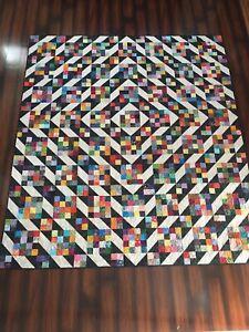 "Handmade scrappy cotton batik queen size quilt 88"" x 100"" black cream background"