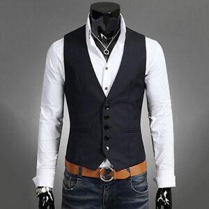 Herren Anzug Weste Smoking Jacke Blazer Slim Fit Hochzeit Business Sakko Vest DE
