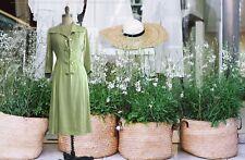 1940s  Pastel Green earth silk Shirtwaist Tea Dress-M