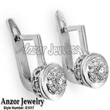 Russian style Diamond  Malinka Earrings  in Platinum 950  # E1017 stamped PLAT.