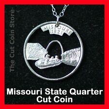 New Missouri Gateway Arch 25¢ MO Quarter Cut Coin Necklace Show Me State Pendant
