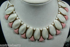 VTG W GERMANY PEARLY WHITE MILK & PINK GLASS OVAL ROW COLLAR NECKLACE