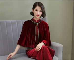 Vintage Women Cape with Fringe Chinese Lady Cape for Cheongsam 3 Colors