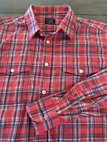 UNTUCKit Plaid Light Flannel Button Up Shirt Slim Fit Red White Blue XL