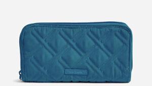 NWT Vera Bradley -RFID Front Zip Wallet -Bahama Bay Microfiber -MSRP $58