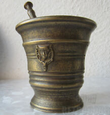 With 2 devil heads - Antique vintage ornate bronze Mortar and Pestle, evil satan