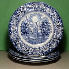 "Liberty Blue dinner plate Set of 4 ironstone 10"" diameter Independence Hall UK"