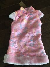 Chinese Girls Pink Sleeveless Qipao Size 4 Polyester with Fleece