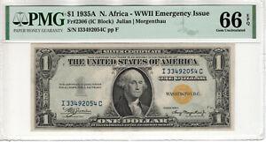 1935 A $1 SILVER CERTIFICATE NORTH AFRICA FR.2306 IC BLOCK PMG GEM 66 EPQ (054C)