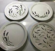 """Set of 4 """"provence Lavender"""" Decal Le Creuset 7.5"""" Tea Plates Stoneware 19cm"""