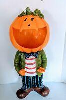 "VTG Chalkware Jack O Lantern Pumpkin Head Man Halloween Statue 24"" Candy Dish"
