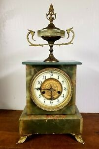 Rare Antique Waterbury Trophy Top Marble Wood Brass 8 Day Mantel Clock