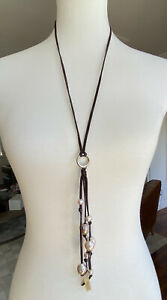 New Authentic Chan Luu Pink Pearl Fringe Dark Brown Leather Necklace