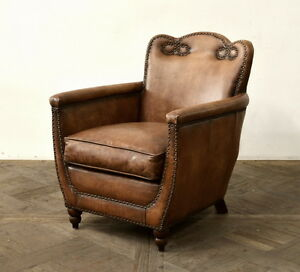 "28"" W Club Arm Chair buffalo Vintage brown leather spectacular nail detail"