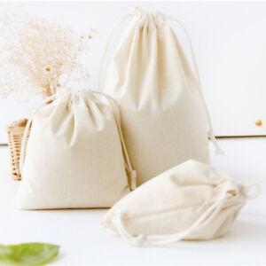 Cotton Linen Drawstring Sack Bag Food Clothes Outdoor Travel Casual Hand Bag