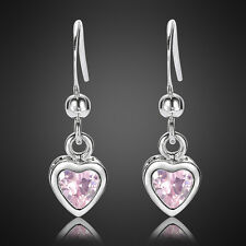 Sapphire White Gold Plated Dangle Earrings Xmas Fashion Jewelry 1 Heart Cut Pink
