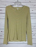 J.Crew Women's M Medium Striped Mustard Yellow Fall Long Sleeve Top Shirt Tee