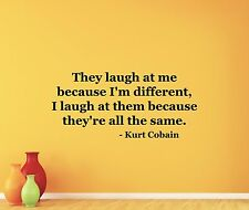 Kurt Cobain Quote Wall Decal Nirvana Vinyl Sticker Rock Music Decor Art 86quo