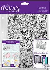 Docrafts Papermania A5 Farfalle Sfondo Stamp Set + CARTELLA di Archiviazione Tasca