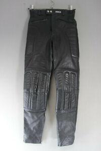 ASHMAN BLACK COWHIDE LEATHER BIKER TROUSERS - WAIST 30 INCH/INSIDE LEG 32 INCH