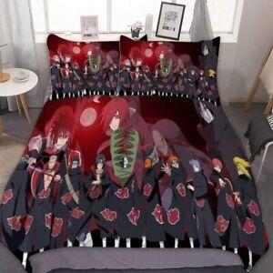 Naruto0 Akatsuki Members 3PCS Bedding Set Duvet Cover Pillowcase Comforter Cover