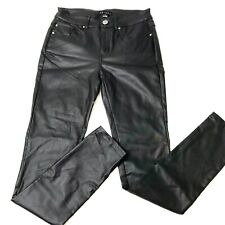 TRIBAL Jeggings Pants Faux Black Leather-Size 2-#102400-5524-Stretchy