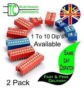 Slide Dip switch module 2.54mm SPST DIL package (2 pack) **UK Seller Free P&P**
