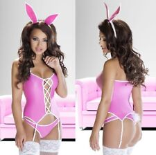 AVANUA-Isha Cute 3PC Bunny Girl Outfit,Matching Thong and Bunny Ears-Pink-L/XL