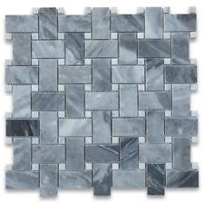 K650XP Bardiglio Gray 1x2 Basketweave Mosaic Tile w/ Carrara White Dots Polished
