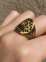 Solid Italy 14k Gold filled SS Men's King Crown Ring Every Day Wear Warranty