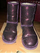UGG Classic Short Sparkles Sequin Sheepskin Boots Women Size 8 With Box Preowned