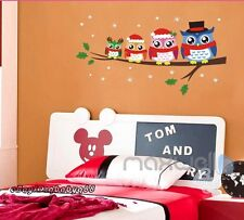Christmas Owl Tree Branch Family Removable Wall Sticker Decal Kids Nursery Mural