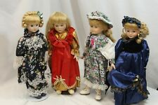 """4 Porcelain Dolls with Stands 17"""" Tall Blonde Hair Blue Eyes"""