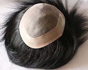 Men Toupee 100% Original Human Hair Replacement System Fine Monofilament Wigs