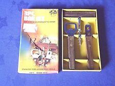 Vintage trois pièces Bar Set en acier inoxydable et en bois de rose