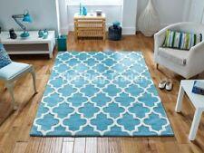 Tapis bleu avec des motifs Géométrique pour la maison en 100% laine
