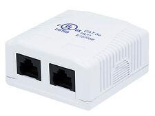 2 port Cat5e Cat 5e RJ45 Network/Internet Cable Wall Surface Mount Compact Box