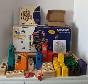 Complete 2002 Hape Quadrilla RAIL-Set Wooden Block Education BONUS 200 Marbles!