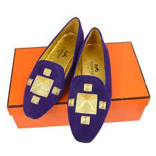 Authentic HERMES H Embroidery Flat Shoes Pumps Purple Suede Vintage #35 AK34133e