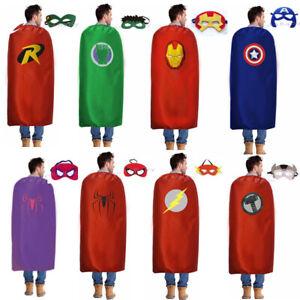 Adults Superhero Capes & Masks Party Costume Set Double side Satin 90cm x 140cm