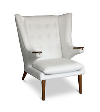 Amazing wing ear chair inspired by Papa Bear leather white with walnut legs