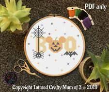 "Disney inspired Halloween Mickey Mouse ""boo"" Quote Cross Stitch Pattern PDF Only"