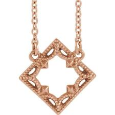 14k Rose Gold Vintage Style Geometric Necklace