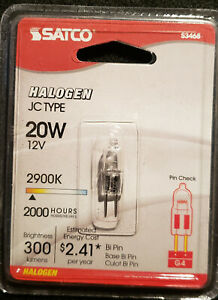 Satco S3468 20W Halogen JC Type 12V 2900K 300 Lumens Bi Pin G4 Bulb Lamp  NEW