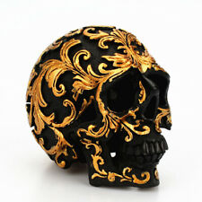 Resin Golden Skull Statue Figurine Human Skeleton Head Halloween Home Bar Decor