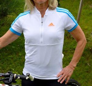 Adidas Ladies Summer Bicycle Jersey UV 50+ Cycling Bike Shirt Sports White Blue