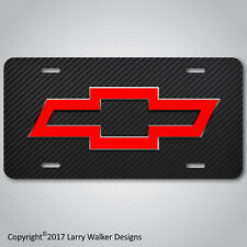 Black and Red Chevy Bowtie Bow Tie Aluminum License Plate Tag New Unique Design