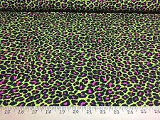 """Neon Green/Hot Pink Leopard  4 Way Stretch Heavy Poly Lycra Fabric 58"""" W BTY"""