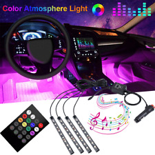 4X 36 LED Car Interior Atmosphere Neon Light Strip Music Control+Wireless Remote